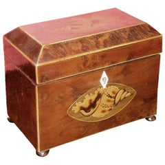 18th Century English Sheraton Walnut and Mahogany Inlaid Tea Caddy
