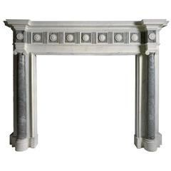 18th Century Reproduction Mantel in Statuary and Bardiglio Imperial Marble