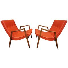 Milo Baughman Signed Pair Scoop Lounge Chairs James Inc.