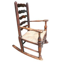 Charming 19th Century English Child's Rocking Chair, Great Old Color And Patina