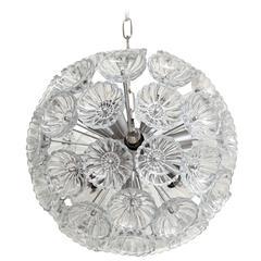 Swedish Mid-Century Glass Flower Sputnik Chandelier, 1 of 2
