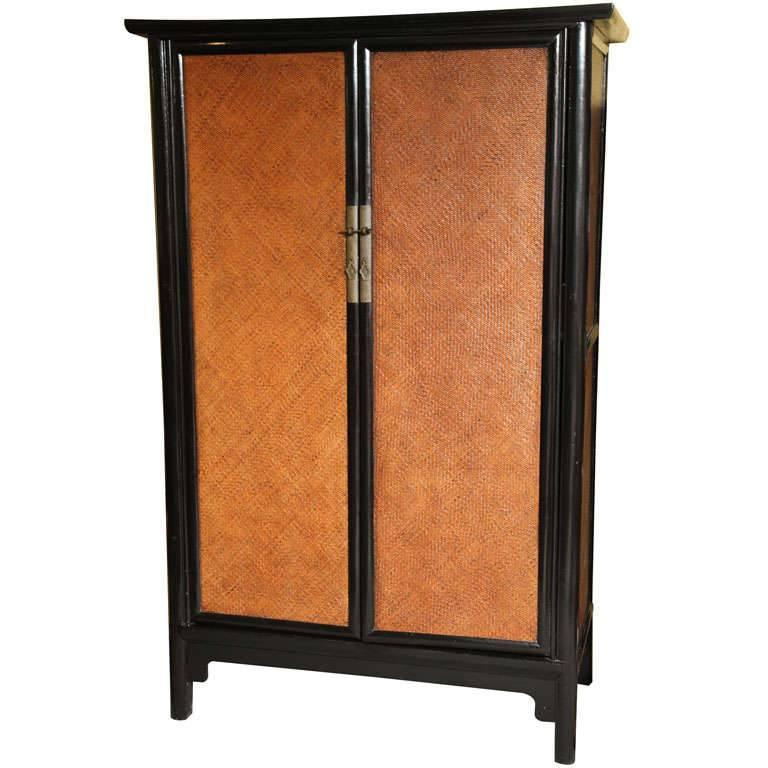 Elmwood and Woven Rattan Lacquered Large Cabinet from 19th Century, China