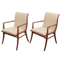 Pair of Robsjohn-Gibbings for Widdicomb Walnut and Wool Boucle Klismos Armchairs