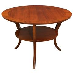 Two-Tier Walnut Saber Leg Occasional Table by Robsjohn-Gibbings for Widdicomb