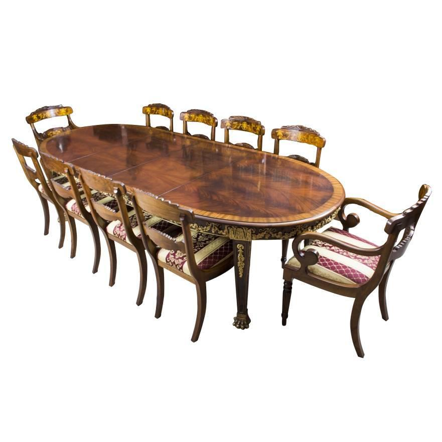 Antique Flame Mahogany Ormolu Dining Table And Ten Chairs At 1stdibs