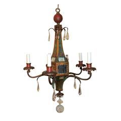 Wonderful Moroccan Tole Vintage Mirrored Crystal Fixture Hand-Painted Chandelier