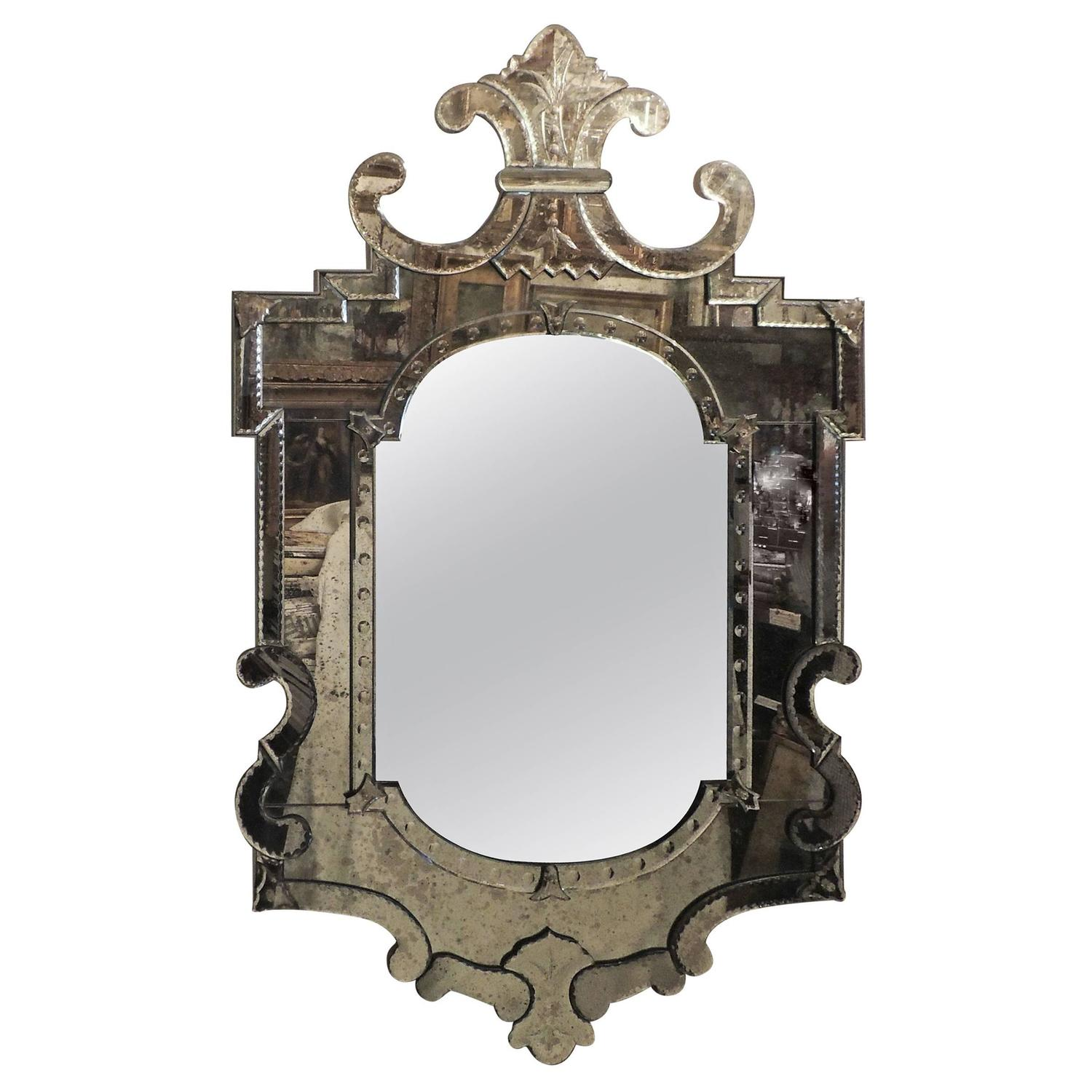 Wonderful Large Vintage Beveled Venetian Mirror Scalloped Crown Etched Appliques At 1stdibs