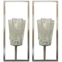 Italian Murano Architectural Clear Glass Sconces