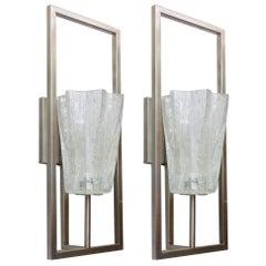 Italian Murano Architectural Clear Glass Sconces