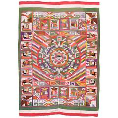 Vintage Mexican Abstract Flat-Woven Kilim