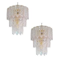 Pair of Venini Tiered Chandelier