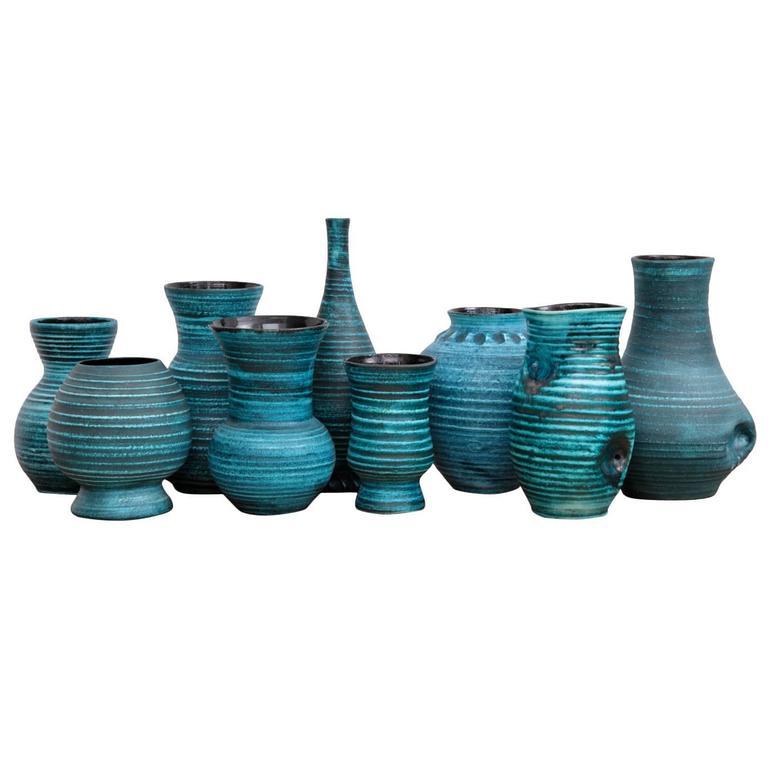 Set of nine Blue Banded Ceramic Vases 'Gaulois' by Accolay, France, 1960s