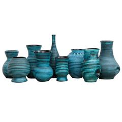 Set of nine Blue Banded Ceramic Vases 'Gaulois' by Accolay, France, 1960s