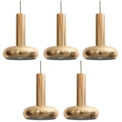 One Danish Modern Brass Pendant Lamps with Authentic Patina