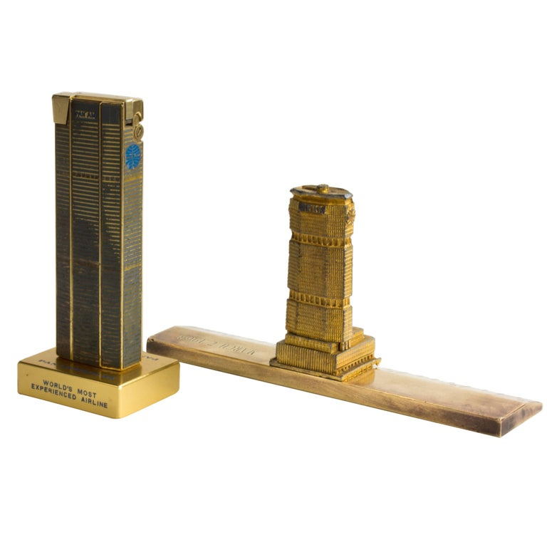 Two 1960's Pan Am Building New York souvenir architectural models, New York