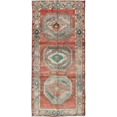 Vintage Turkish Oushak Wide Runner