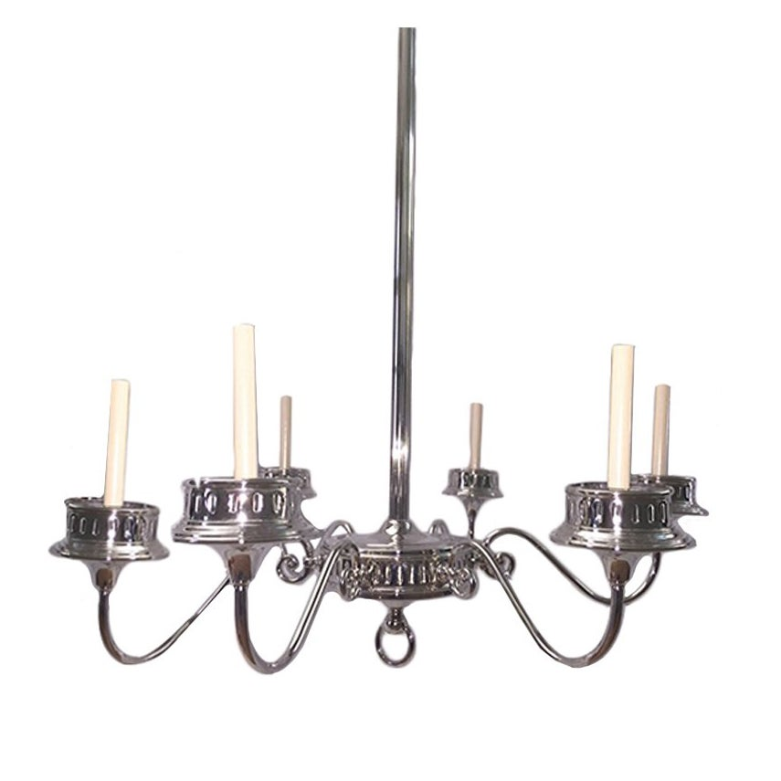 Pair of Neoclassic Silver Plated Chandeliers