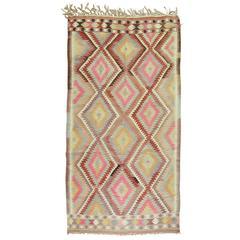 Pastel Turkish Kilim Flat-Weave