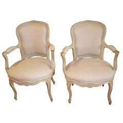 Pair of Louis XV Style Painted Armchairs, original paint finish new linen fabric