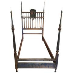 Beautifully Patinated 19th Century Four-Poster Bed with Hand-Painted Headboard