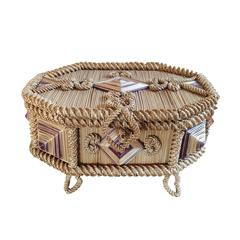 19th Century French Straw Applique Box
