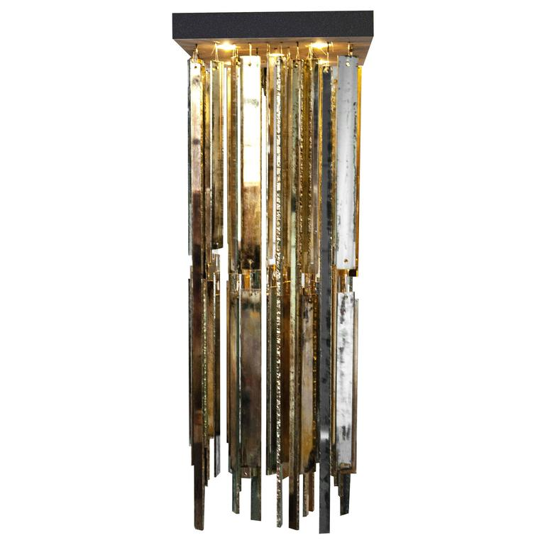 Crystal Fall Wall Lamp Hanging Lighting Double Silvered Glass Sheets Copper Meta