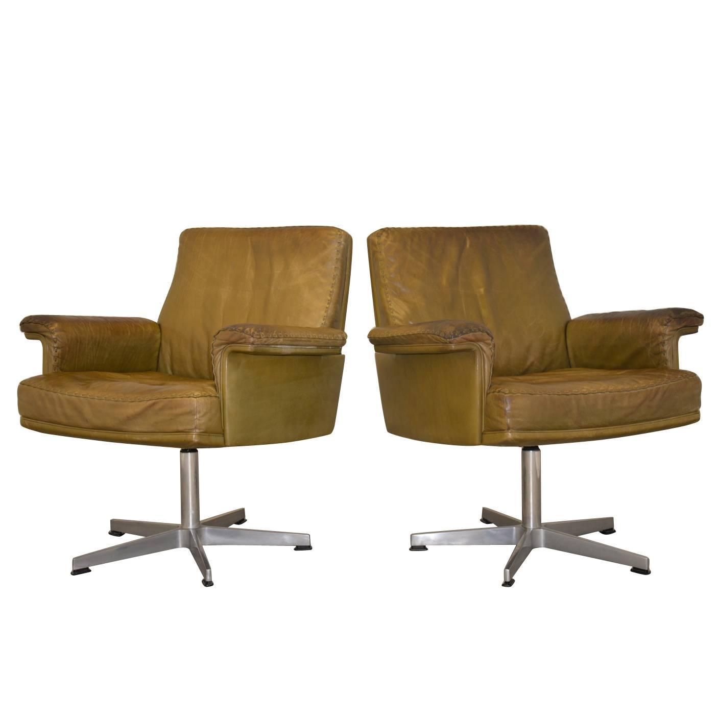 Vintage leather swivel chair - Vintage De Sede Ds 35 Executive Desk Swivel Armchairs 1960 S For Sale At 1stdibs