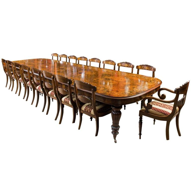 Huge Bespoke Handmade Marquetry Walnut Extending Dining Table 18 Chairs