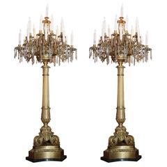 Large 19th Century French Bronze Doré and Crystal 19-Light Torchieres