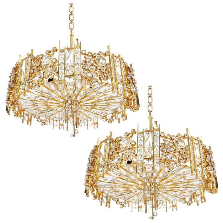 Palwa Pair Golden Brass Crystal Glass Encrusted Chandeliers, Germany 1960