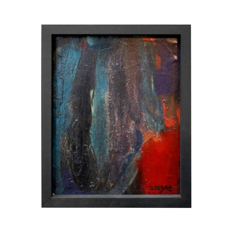 1960s French Abstract Oil Painting in Black, Blue, Green and Red