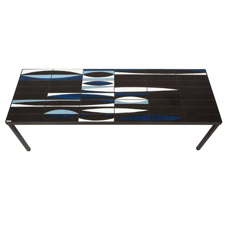 Capron Blue Black  Ceramic Navette Coffee Table, Iron 1950 France Mid Century For Sale