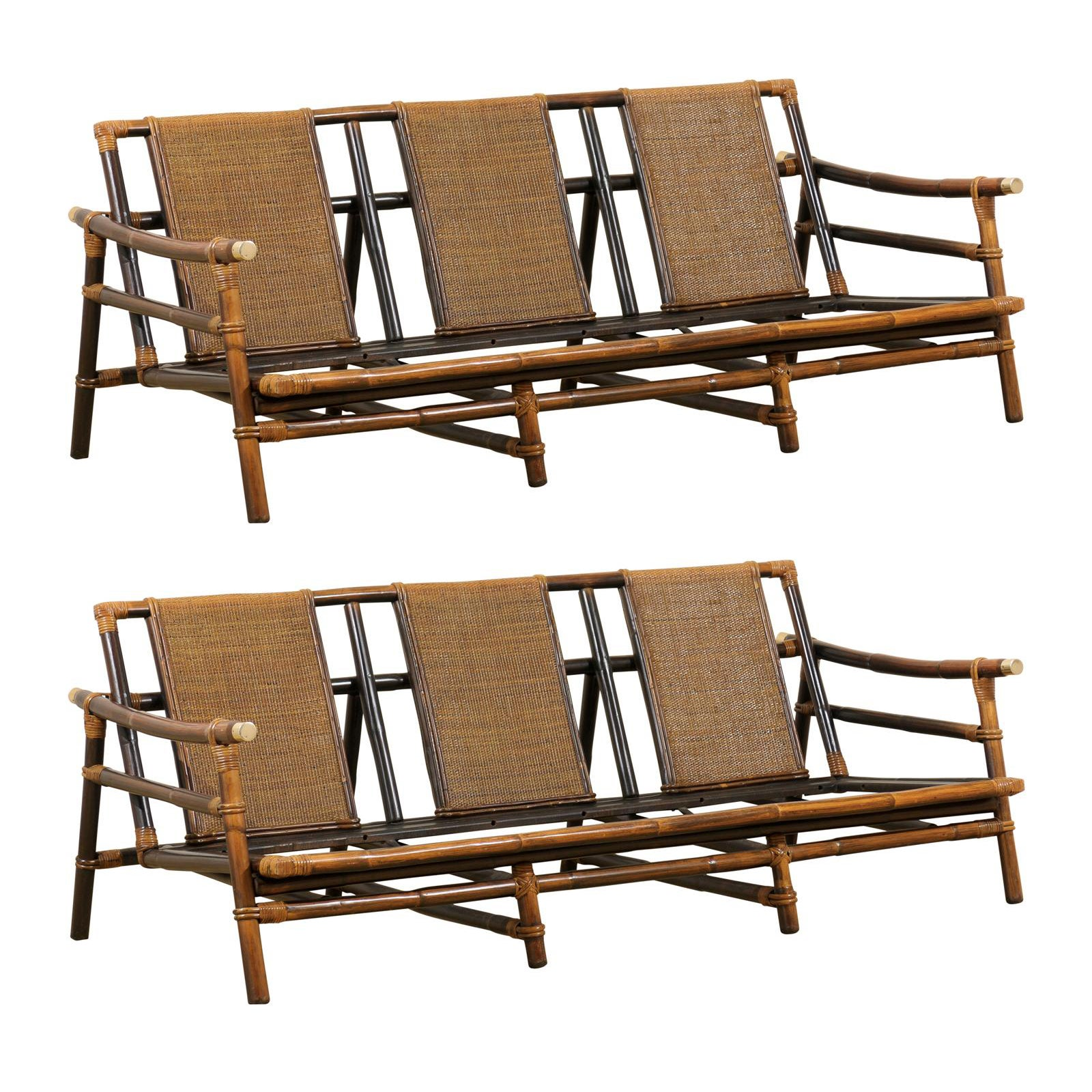 Rare Restored Sofa by John Wisner for Ficks Reed- Pair Available