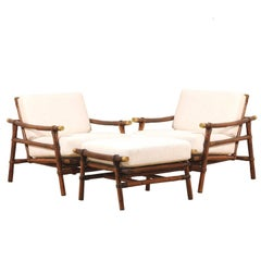 Superb Restored Pair of Loungers by Wisner for Ficks Reed, circa 1954