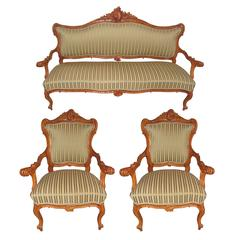 18th Century Italian Baroque Salon Suite Composed of Two Armchairs and a Sofa