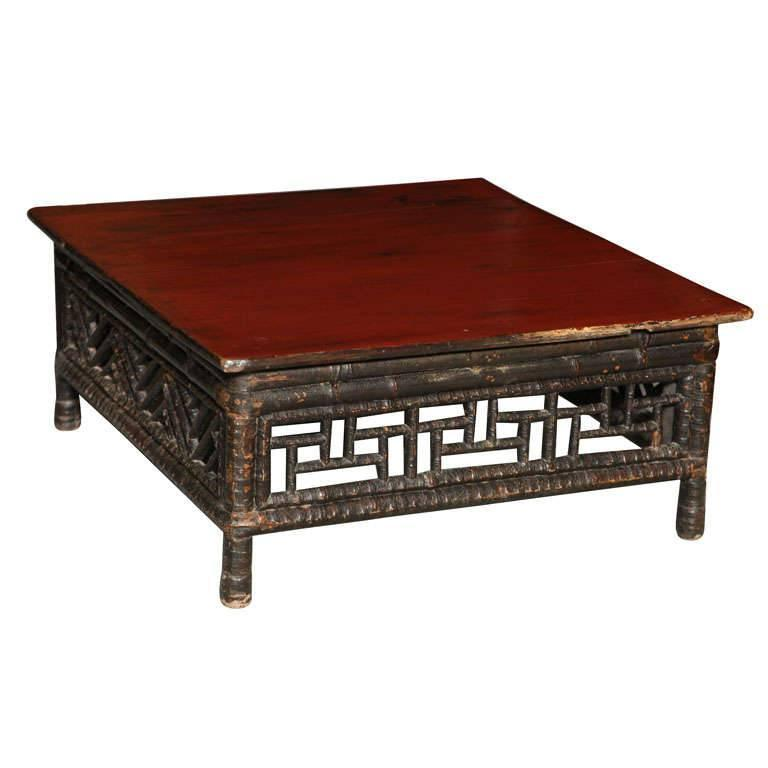 Small 19th Century Chinese Bamboo with Red Lacquered Top Coffee Table