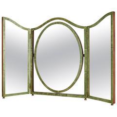 Art Deco Shagreen Three Fold Vanity Mirror, English, circa 1930