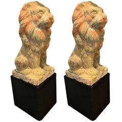 American Terracotta Lions on Wooden Bases, circa 1920