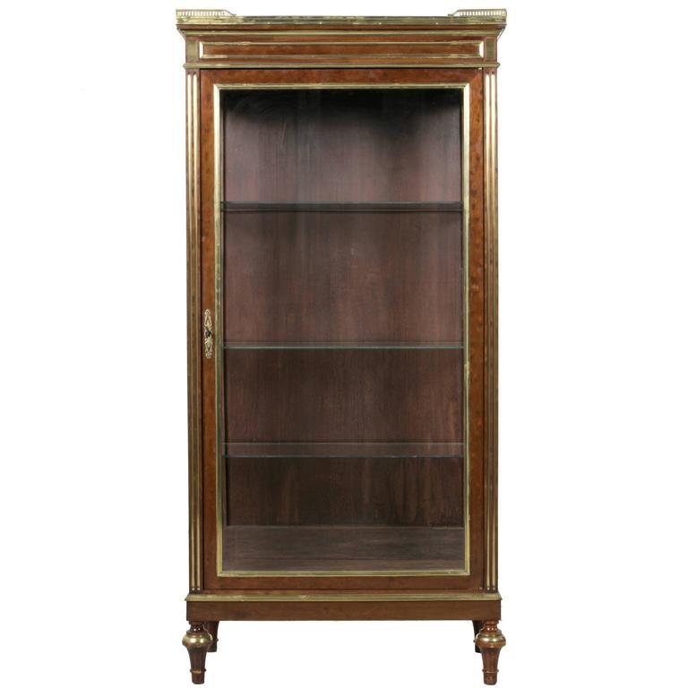 French Louis Xvi Mahogany Vitrine Cabinet With Bronze
