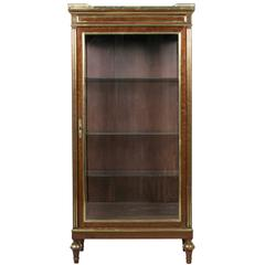 French Louis XVI Mahogany Vitrine Cabinet with Bronze Banding and Marble