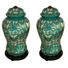 Pair of American Decoupage Butterfly Design Glass Temple Jar Lamps circa 1950