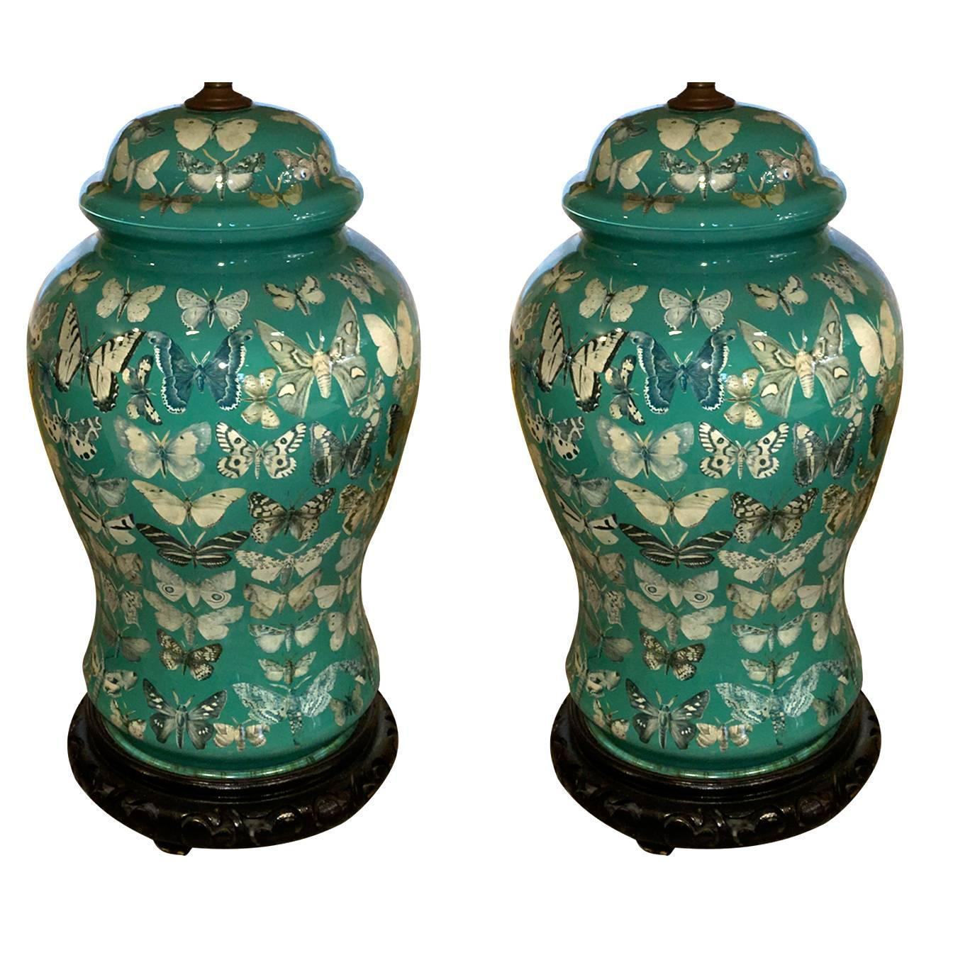 Pair of American Decoupage Butterfly Design Glass Temple ...