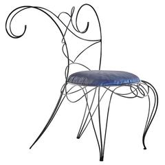 "Sculptural Wrought Iron ""Ram"" Chair by André Dubreuil"