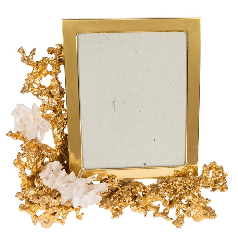 Gorgeous Picture Frame by Claude Boeltz in Gilded Bronze and Rock ...