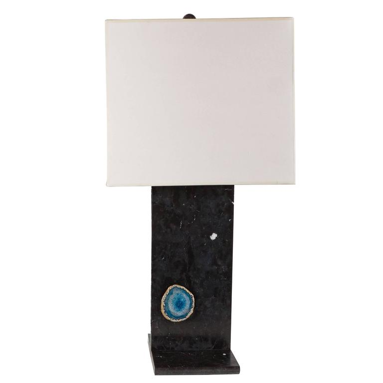 Luxe Exotic Black Marble Table Lamp With Various Imbedded Geode For