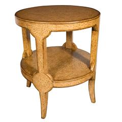 Mid-Century Modernist Two-Tier Ostrich Skin Side Gueridon Table