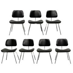 Set of Seven Authentic Eames Herman Miller Dcm Ebony Mid-Century Dining Chairs