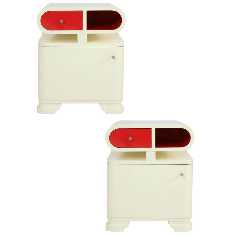 Modernist Hungarian Art Deco White Lacquer Nightstands 1