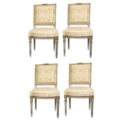 Set of Four Very Fine Maison Jansen Dining Side Chairs With Scalamandre Fabric