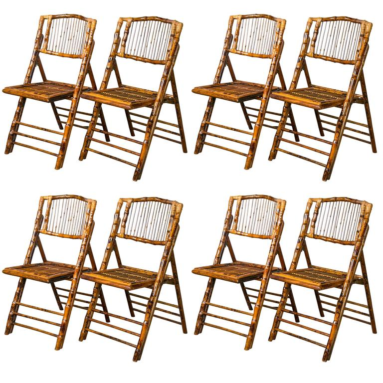 eight folding tortoise shell and bamboo stylized side chairs at 1stdibs